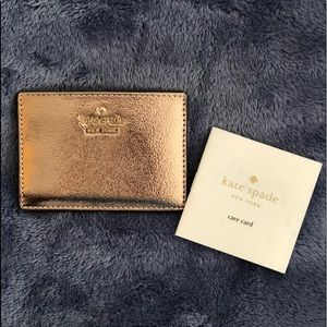 Kate Spade Card Holder in Soft Rose Gold Metallic